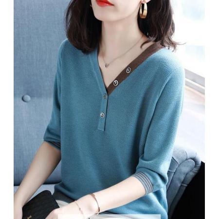YF67018# V领七分袖针织衫洋气秋季女装休闲上衣百搭打底衫 服装批发女装直播货源
