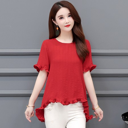 YF67022# 夏季新款夏装短袖时尚优雅洋气小衫 服装批发女装直播货源
