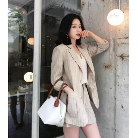 YF67224# 韩版夏季新款条纹西服套装女休闲时尚亚麻小香风短裤两件薄款