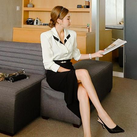 YF67955# 新款两件套秋韩版气质衬衫上衣收腰开叉包臀裙职业套装 服装批发女装直播货源