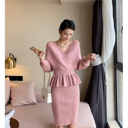 YF67968# ~新款时尚韩版长袖亮丝收腰包臀针织连衣裙套装 服装批发女装直播货源