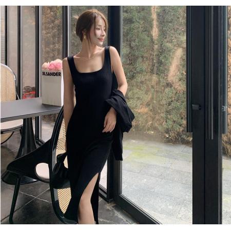 YF68517# 秋冬针织连衣裙新款吊带背心裙+短款外套两件套毛线裙 服装批发装直播货源