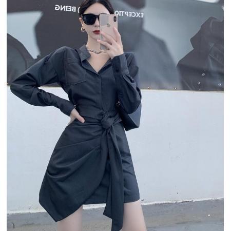 YF68665# 气质修身长袖衬衫裙收腰系带不规则连衣裙女 服装批发女装直播货源