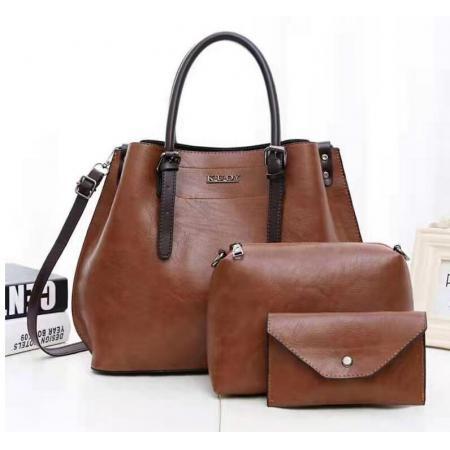 YF69497# 新款女包欧美时尚潮流女士单肩包复古纹手提包三件套子母包 包包批发女包货源