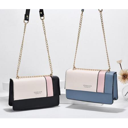 YF69503# 包包潮流新款韩版女包时尚链条撞色小方包单肩手提斜挎包 包包批发女包货源