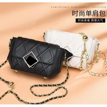 YF69506# 小包包新款潮流时尚女包高级感洋气菱格小金球链条单肩斜挎包 包包批发女包货源