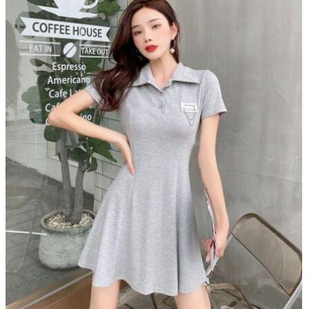 YF69898# 韩版收腰显瘦超仙气质Polo裙短袖t恤裙子 服装批发女装直播货源
