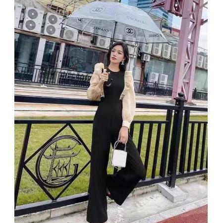 YF69908# 网红同款时尚连体裤女秋季新款泡泡袖荷叶边假两件连体阔腿裤