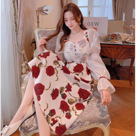 YF70067# 南法玫瑰气质罩衫长裙春秋新款法式吊带连衣裙女 服装批发女装直播货源