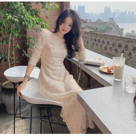 YF70074# 七分袖法式方领碎花连衣裙设计感小众蕾丝茶歇裙仙 服装批发女装直播货源