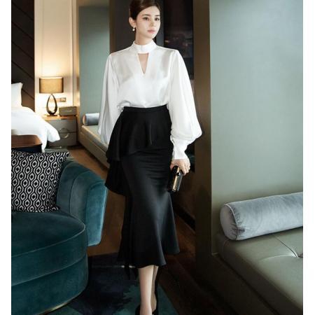 YF70318# 韩版时尚气质衬衫+职业包臀修身半身裙裙子 服装批发女装直播货源