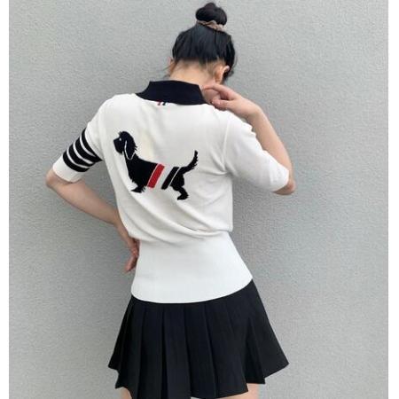 YF70615# 四杠冰丝后背小狗针织POLO衫学院风收腰显瘦短袖T恤女潮 服装批发女装直播货源