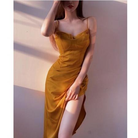 YF70758# 夏日缪斯胸大腰细黄色收腰抹胸露背吊带裙长裙连衣裙女夏 服装批发女装直播货源
