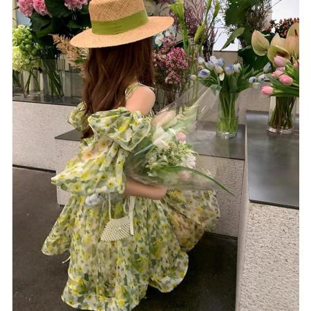 YF70856# 南国假日轻薄一字肩度假连衣裙女夏季荷叶边露背吊带裙 服装批发女装直播货源