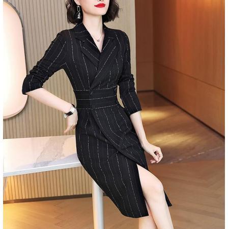 YF71165# 西装连衣裙黑色秋新款收腰显瘦双排扣长袖针织条纹包臀裙