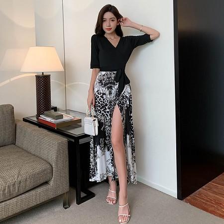 YF71275# 法式收腰修身显瘦开叉V领碎花裹身裙黑色气质连衣裙