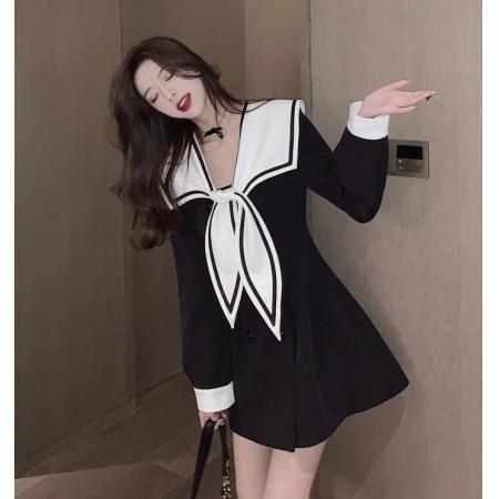 YF71326# 小衣橱管家海军领连衣裙春装年新款女收腰显瘦气质高级感裙子