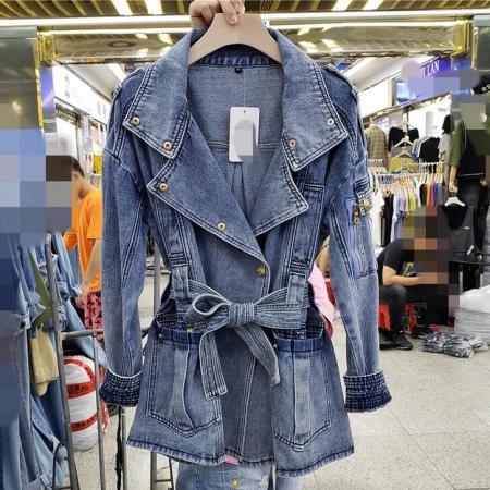 YF71329# 收腰牛仔外套...