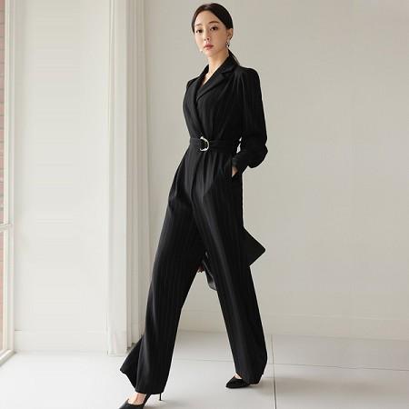 YF71551# 秋装新款韩版气质西装领系带收腰条纹阔腿裤职业连体裤