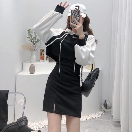 YF75038# 运动风休闲小个子短款连帽卫衣背心裙两件套连衣裙洋气 服装批发女装直播货源
