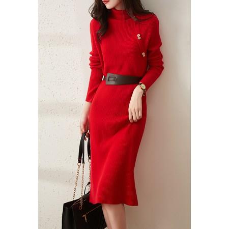 YF75061# 秋冬新款大红色高领弹力配腰带全羊毛针织连衣裙女 服装批发女装直播货源